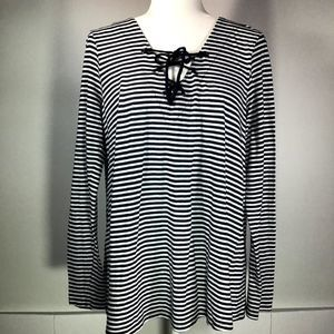 Velvet by Graham & Spencer Navy/White Stripe Top L